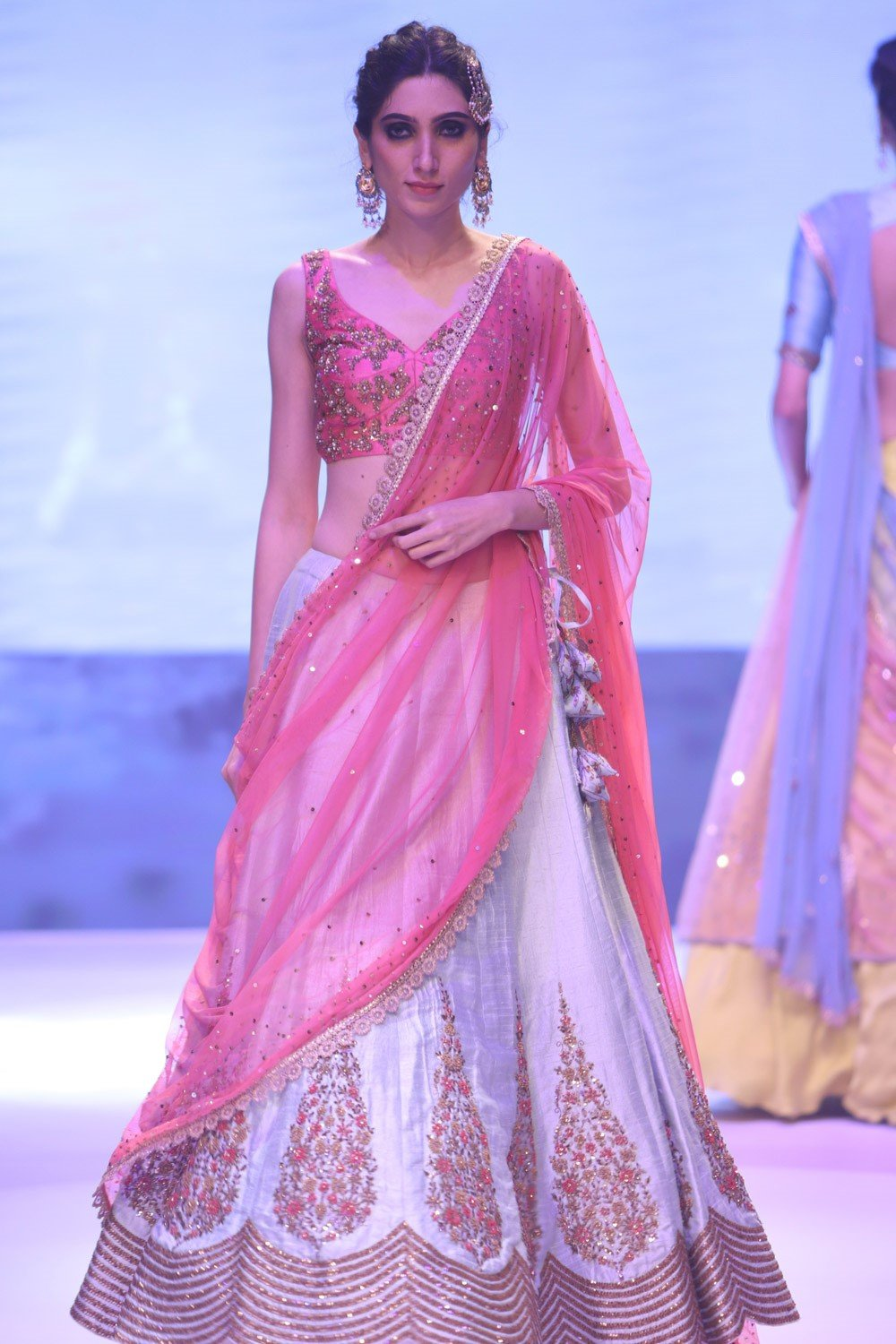 Exclusive Designer Mint and pink embroidered lehenga set-Bridal Lehenga Store