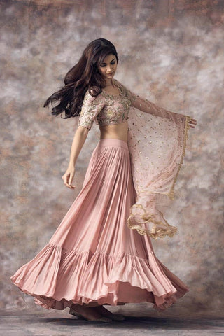 Beautiful Designer Peach Color Party Wear Lehenga Choli-Bridal Lehenga Store