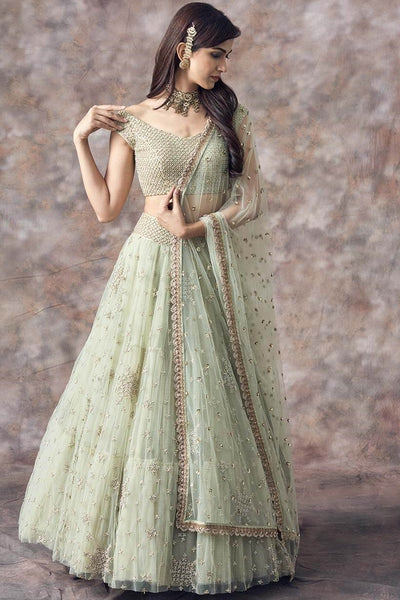 Beautiful Designer Mint Green Color Party Wear Lehenga Choli-Bridal Lehenga Store