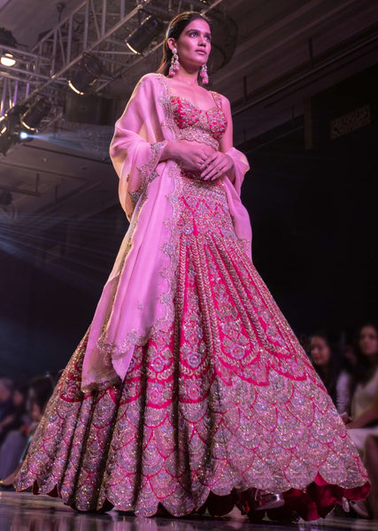 Pink Color Attractive Designer Beautiful Bridal Lehenga-Bridal Lehenga Store CMB025