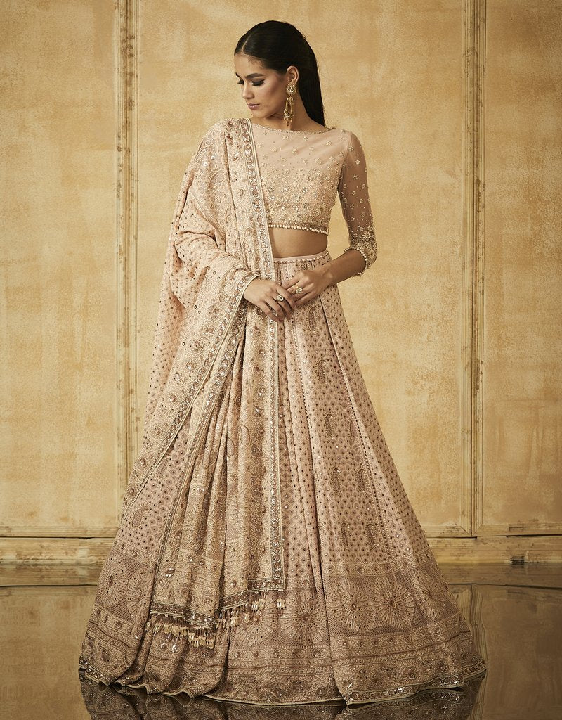 Chikankari Embroidered Kalidar Lehenga With Dupatta And Blouse-Bridal Lehenga Store