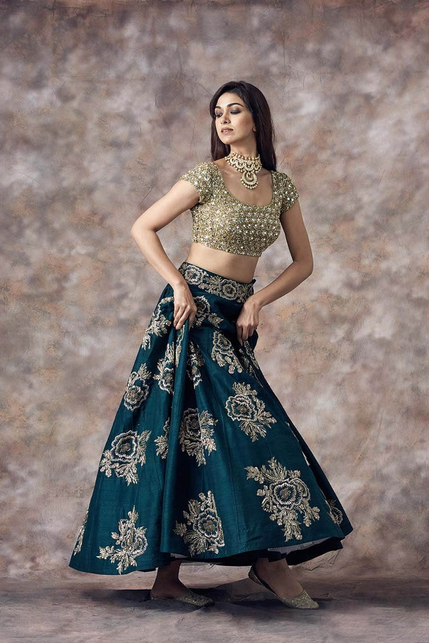 Beautiful Designer Leaf Green Color Party Wear Lehenga Choli-Bridal Lehenga Store