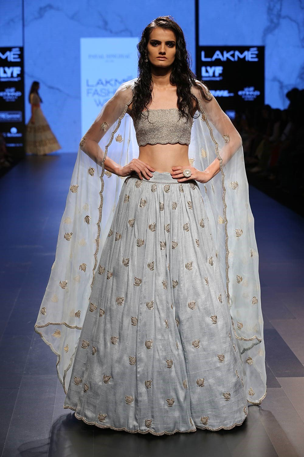 Exclusive Powder blue embroidered lehenga with beaded bustier set-Bridal Lehenga Store