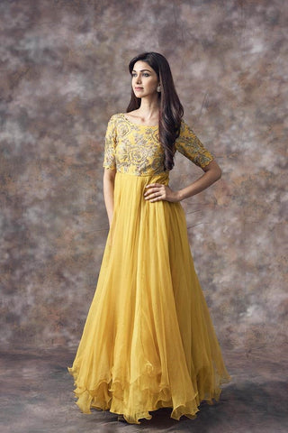 Beautiful Designer Yellow Color Party Wear Gown-Bridal Lehenga Store