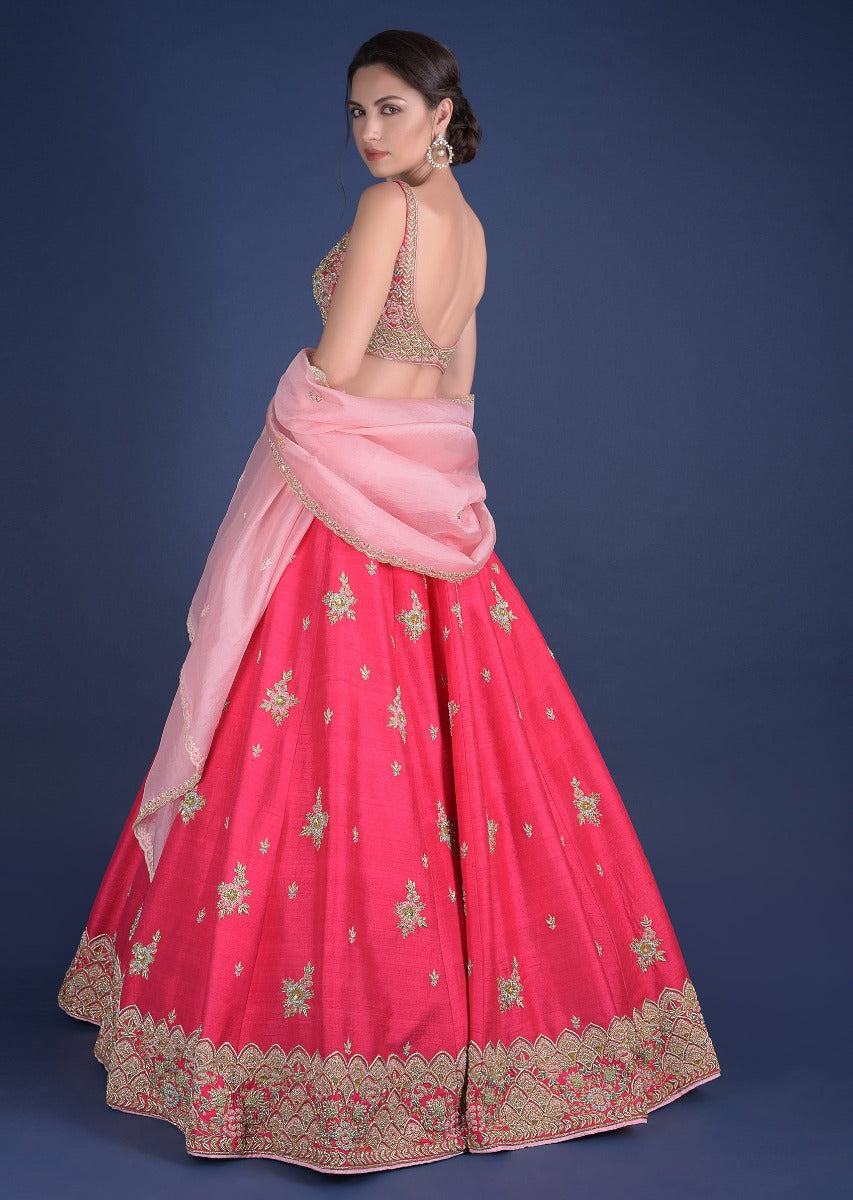 Beautiful Pink Color Party Wear Lehenga Choli-Bridal Lehenga Store