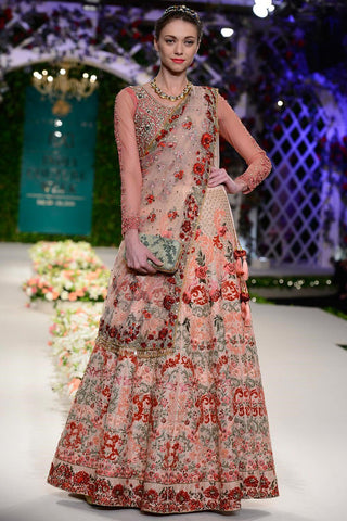 Exclusive Pale pink thread work floral lehenga with frill blouse-Bridal Lehenga Store