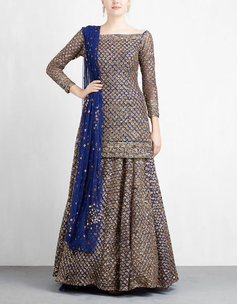 Navy Blue Color Sequins Embroidered Bridal Lehenga-Bridal Lehenga Store CME082