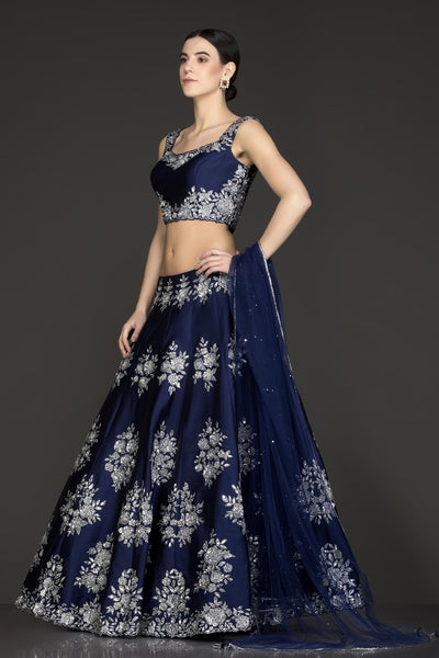 105 Neavy blue Beautiful Designer Blue Color Party Wear Lehenga Choli-Bridal Lehenga Store CMH084