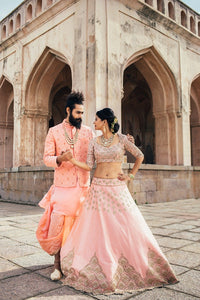 Exclusive Designer Beautiful Peach Color Bridal Lehenga Choli-Bridal Lehenga Store