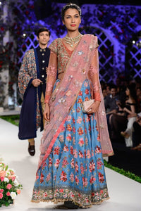 Exclusive Blue and pink embroidered floral colour block lehenga set-Bridal Lehenga Store