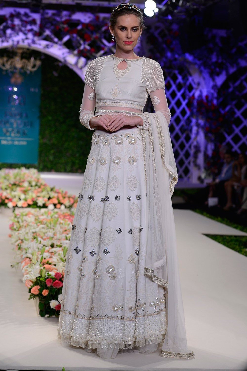Exclusive Ivory pearls and crystals studded floral lehenga set-Bridal Lehenga Store