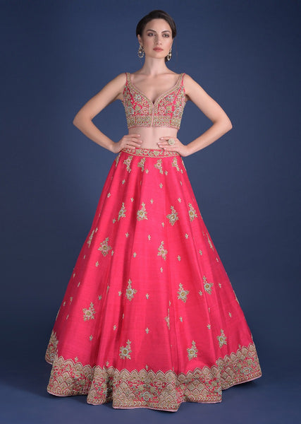 Red Color Attractive Designer Beautiful Bridal Lehenga-Bridal Lehenga Store CMB032
