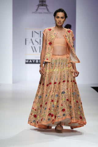 Peach full embroidered floral paneled lehenga and jacket set-Bridal Lehenga Store