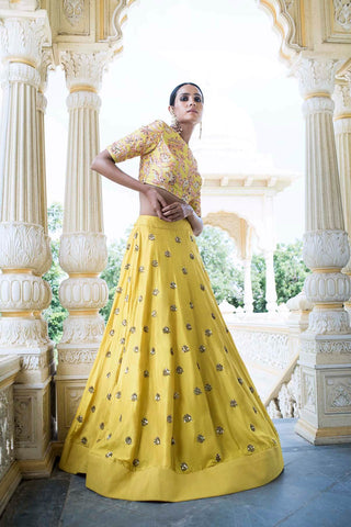 Beautiful Designer Yellow Color Party Wear Lehenga Choli-Bridal Lehenga Store