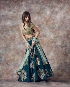 Green Color Beautiful Attractive Designer Bridal Lehenga-Bridal Lehenga Store CME052