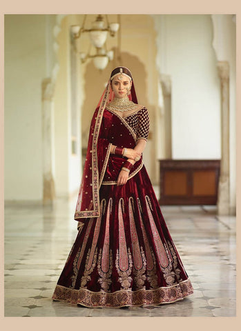 A138-Exclusive Heavy Designer Beautiful Maroon Color Bridal Lehenga Choli - Stylizone