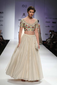 Ivory fully embroidered floral blouse and gathered lehenga-Bridal Lehenga Store