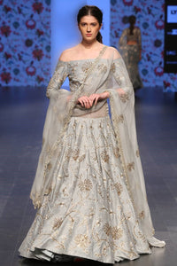 Exclusive Nurjahan powder blue off shoulder blouse and lehenga-Bridal Lehenga Store
