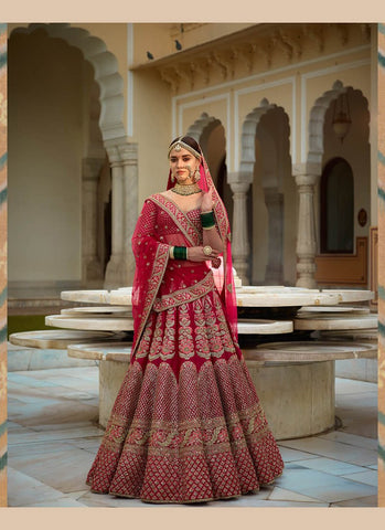 A126-Exclusive Heavy Designer Beautiful Red Color Bridal Lehenga Choli - Stylizone