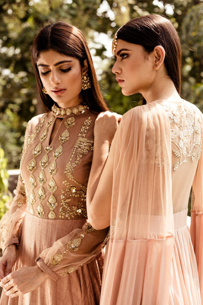 Nude Embroidered Gown CMN073