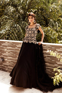 Black Peplum Gown Set CMN028