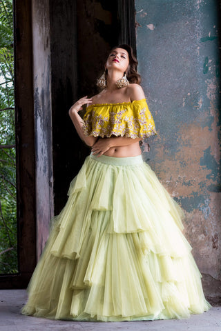 A101 Beautiful Designer Mint Green Color Party Wear Lehenga Choli with Yellow Blouse-Bridal lehenga Store BLS1015