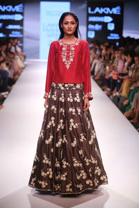 Brown & Red Color Combination Designer Bridal Lehenga-Bridal Lehenga Store CME039