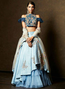 A112-Exclusive Designer Sky Blue Color Party Wear Lehenga Choli - Stylizone