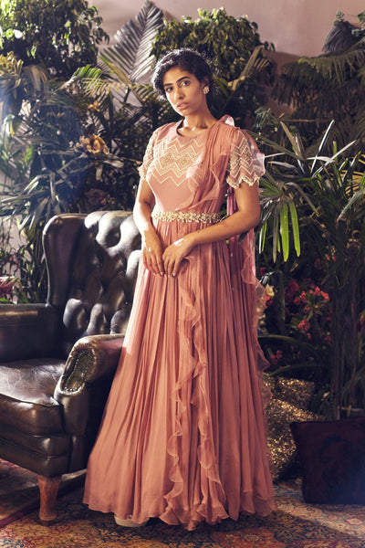 Pink Geometric Embroidered Gown with Embellished Belt CMN079