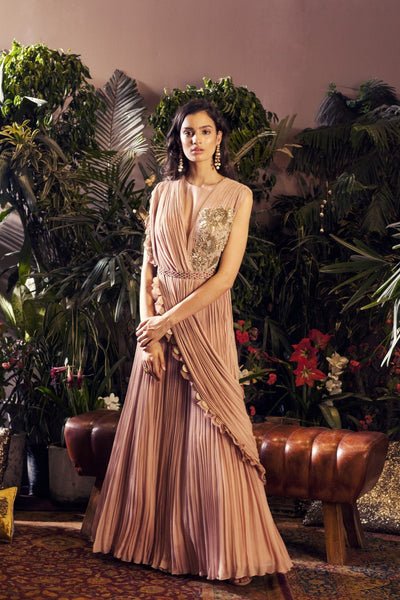 Nude Pink Embroidered Gown with Embellished Belt CMN076