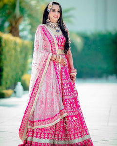 Pink Color Attractive Designer Beautiful Bridal Lehenga-Bridal Lehenga Store CMB063