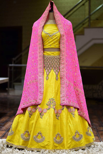 Amber Yellow Raw Silk Resham Embroidered Bridal Lehenga-KG1165