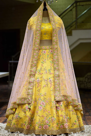 Amber Yellow Resham Embroidered Raw Silk Bridal Lehenga-Bridal Lehenga Store