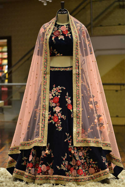 Dark Blue Resham Embroidered Velvet Bridal Lehenga-Bridal Lehenga Store