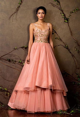 Peach Color Beautiful Exclusive Designer Party Wear Dress CMD036
