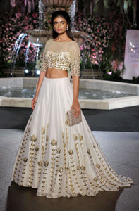 Designer White Tail Lehenga with Embroidery and Hand Work