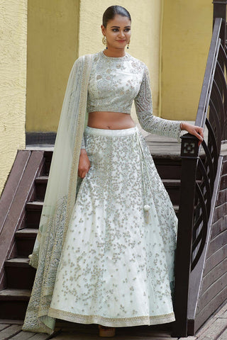 Mint Green Sequins Embroidered Net Bridal Lehenga-Bridal Lehenga Store