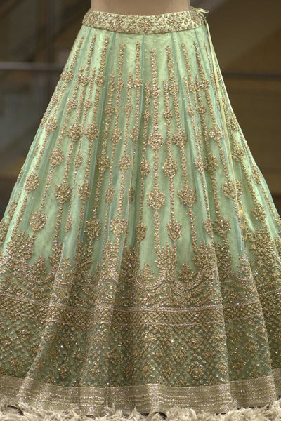 Pastel Green Net Sequins Embroidered Bridal Lehenga-Bridal Lehenga Store