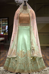 Mint Green Thread Embroidered Silk Bridal Lehenga-Bridal Lehenga Store