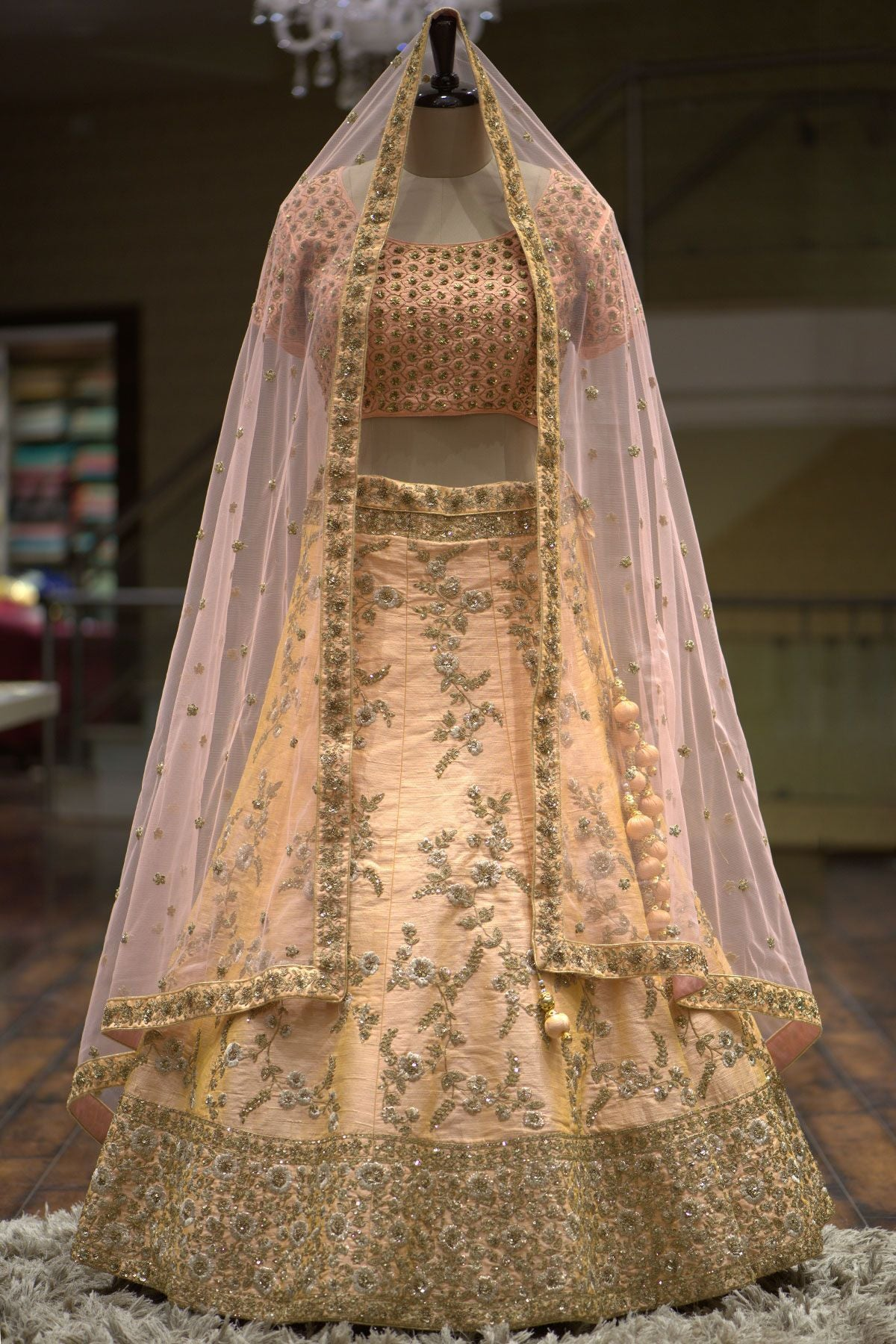 Pastel Orange Sequins Embroidered Raw Silk Bridal Lehenga-Bridal Lehenga Store
