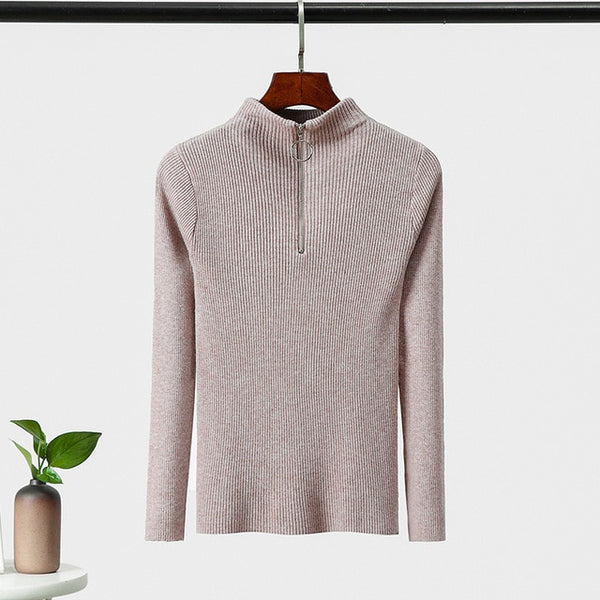 Autumn winter Sweaters solid color Korean zipper sweater with long sleeve