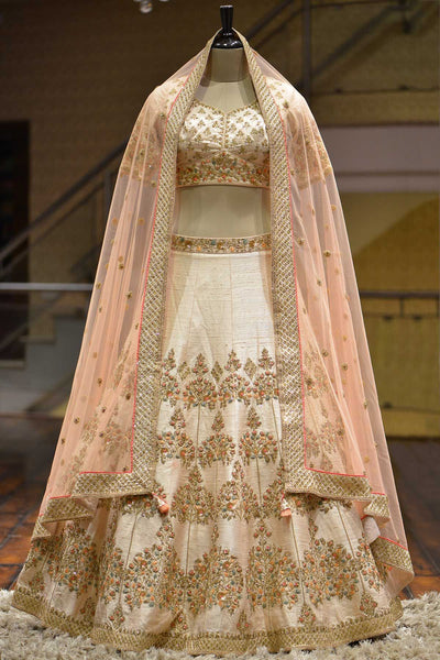 Rose Beige Zardosi Embroidered Raw Silk Bridal Lehenga-Bridal Lehenga Store
