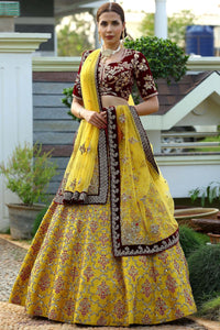Yellow & Gold Zardosi Embroidered Raw silk Bridal Lehenga-Bridal Lehenga Store