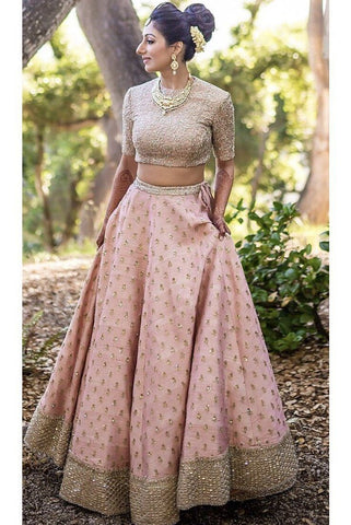 Exclusive Heavy Designer Beautiful Baby Pink Color Bridal Lehenga Choli-Bridal Lehenga Store