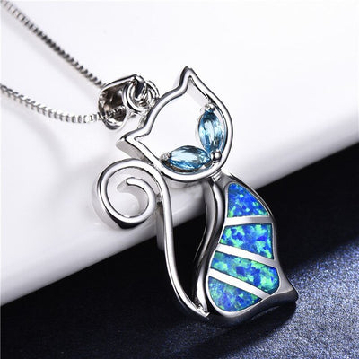 Coco BLUE FIRE OPAL CAT NECKLACE