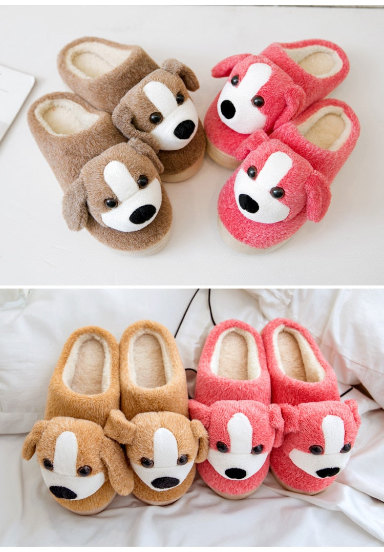 Dog Pattern Fur Slippers