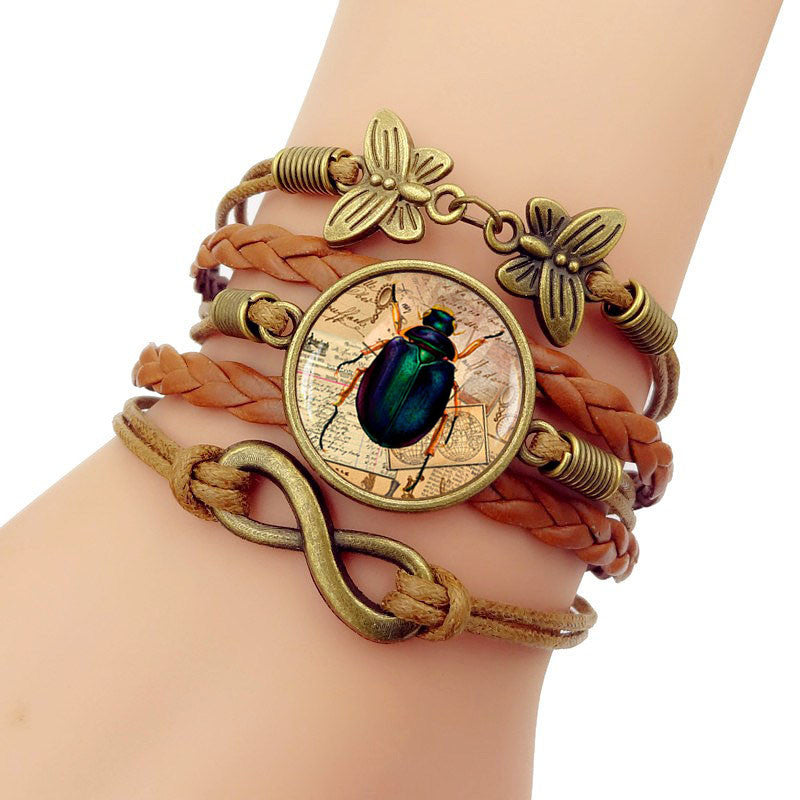 Egypt Scarab Leather Bracelet