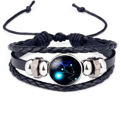 12 Constellations Leather Bracelet Zodiac Sign