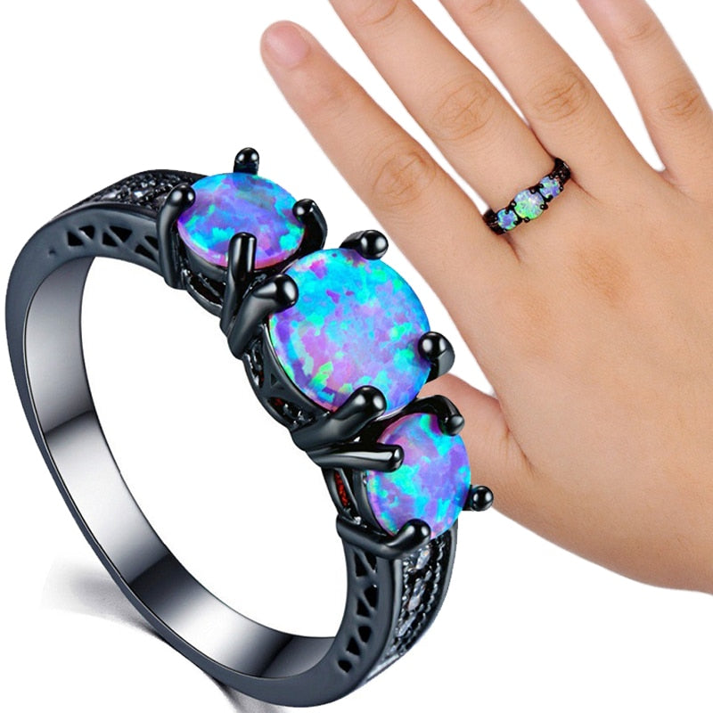 Rainbow Fire Opal Titanium Ring