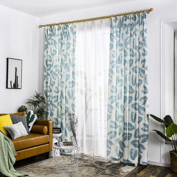 Blue Garden Leaves Curtain Panel - The Jardine Store